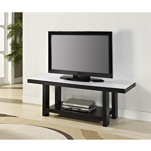 "58"" Black Wood & White Glass Modern Flat Screen TV Stand"