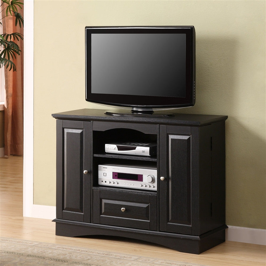 42 black wood tv stand with dvd storage. Black Bedroom Furniture Sets. Home Design Ideas