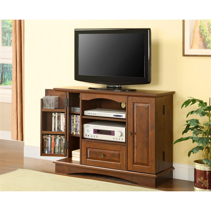 42 compact wood tv stand with dvd storage for Tv console with storage