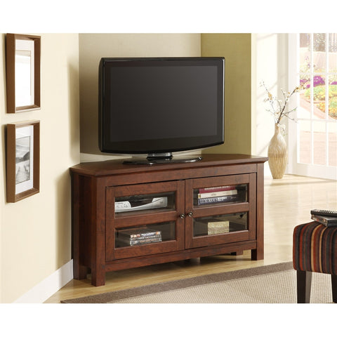 Cordoba Collection Corner Stand in Textured Brown Finish