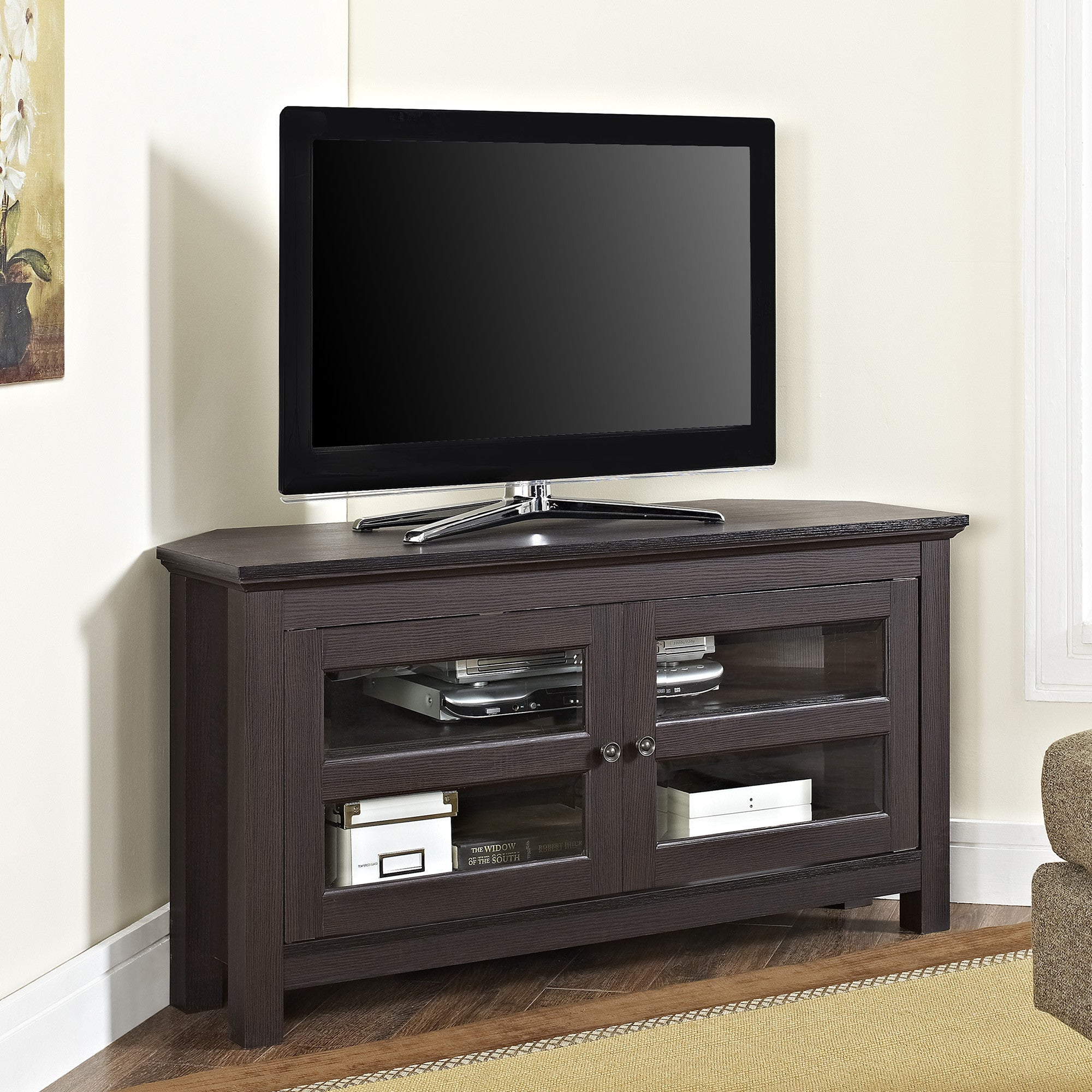 Modern Espresso Corner TV Stand Console With Glass Cabinet