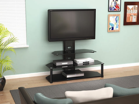 Black Glass & Chrome Modern TV Stand with Integrated Mount
