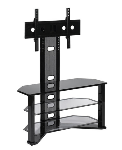 Glossy Black & Clear Glass Modern TV Stand with Integrated Swivel Mount