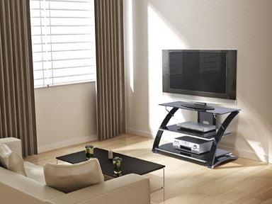 Premium Black Glass Flat Screen Stand with Modern Curved Frame