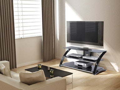 "Premium 55"" Black Glass Flat Screen Stand with Modern Curved Frame"