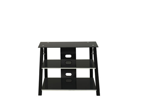 Modern Black Glass Flat Screen Stand with Chrome Accents