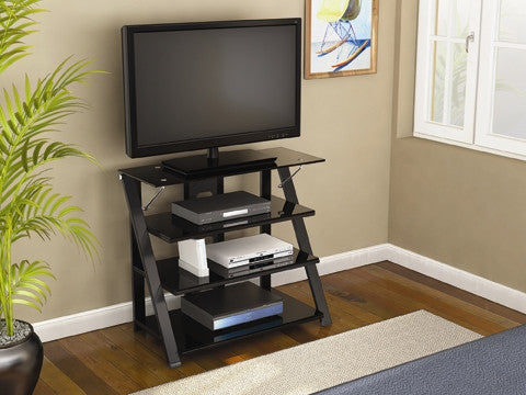 Modern Black Glass Bedroom Height Stand With Chrome Accents