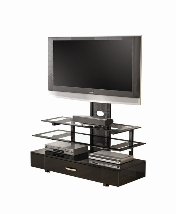 "50"" Modern Metal & Glass Flat Screen Stand with Removable Swivel Mount"