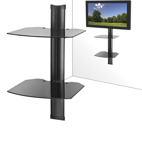 AV Component Wall Mounted Shelf System - Double