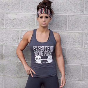 Women's Charcoal Tank - Execute The Blueprint - ChelseaLifts ‌• RTB