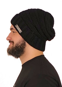 Black Cable Knit Beanie (Unisex)