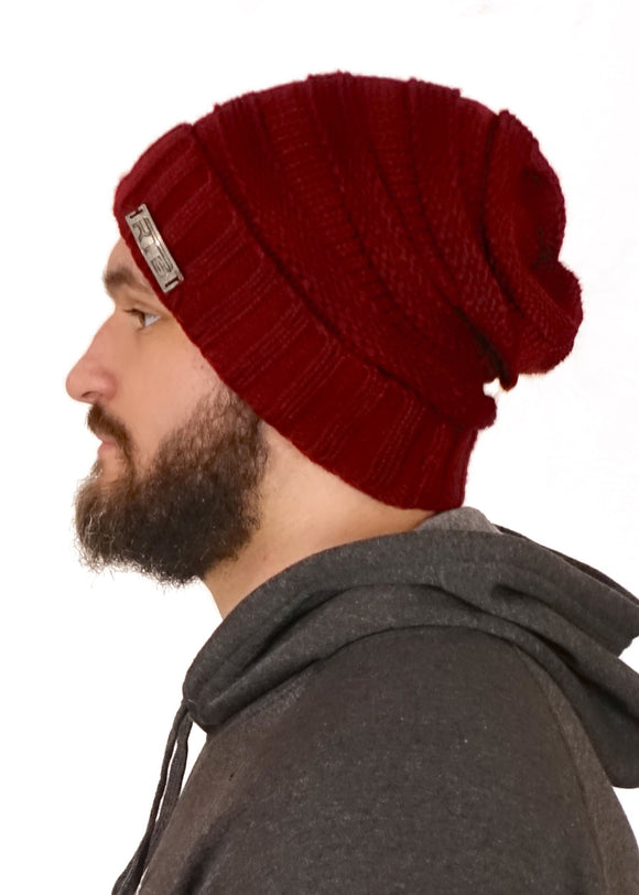 Maroon Cable Knit Beanie (Unisex)
