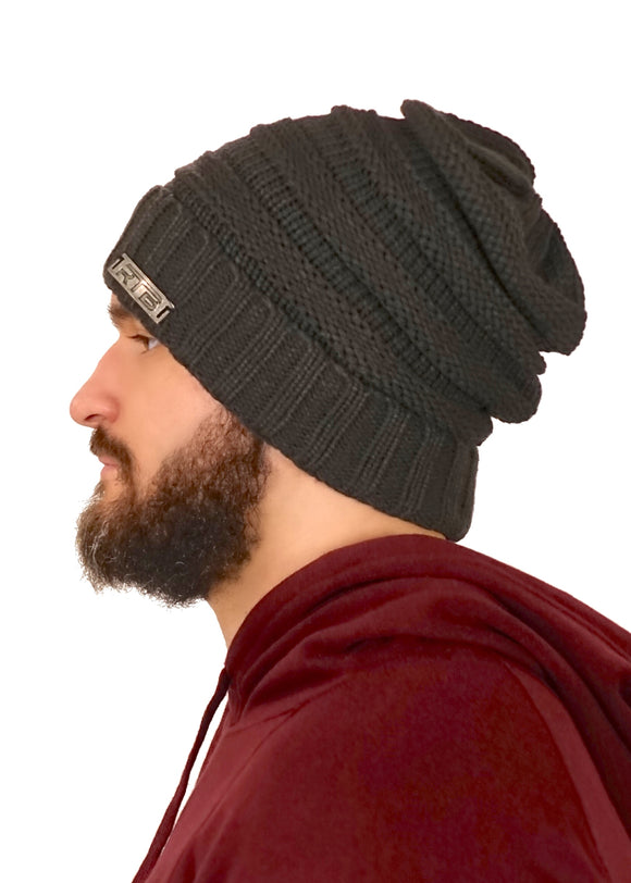 Charcoal Cable Knit Beanie (Unisex)