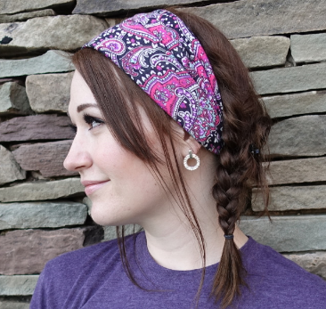 Black/Pink Paisley Headband