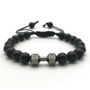 Matte Black & Gunmetal Barbell Beaded Bracelet