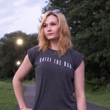Women's Charcoal Flowy Rolled Cuff Tee