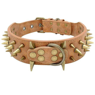 petsupersupply Brown / S Studded Leather Pet Collar pet love dog cat supplies fast delivery