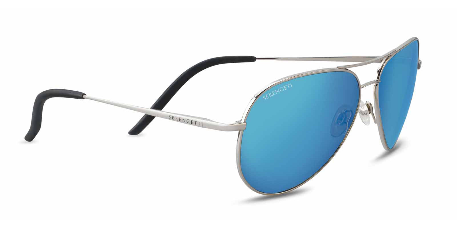 67d21a8ca2b1 Serengeti Carrara 8547 - Shiny Silver, Polarized 555nm Blue Lens - Flight  Sunglasses