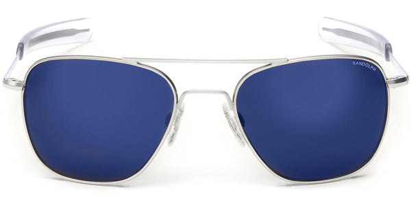 Randolph Aviator Sunglasses AF158<span>- Matte Chrome, Blue Sky Flash Mirror Lite Lens</span>