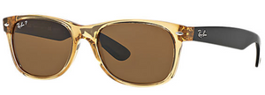 Ray-Ban New Wayfarer Bicolor Honey Sunglasses RB2132 - Polarized Brown