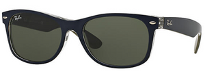 Ray-Ban New Wayfarer Bicolor Blue Sunglasses RB2132 - Green Classic G-15