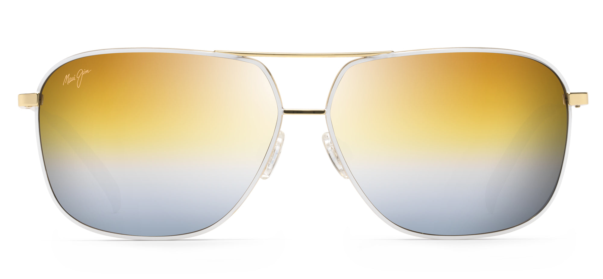 bc712f16ad9 Maui Jim Kami 778 Aviator Sunglasses- Gold with White, Dual Mirror Gold to  Silver Lenses
