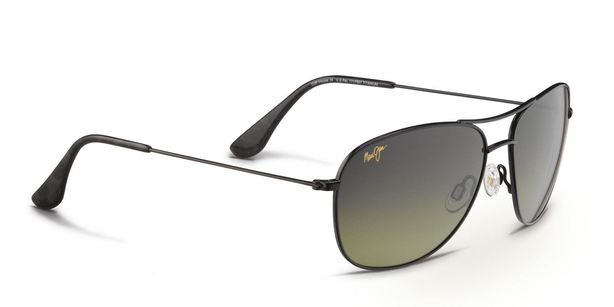 Maui Jim CLIFF HOUSE 247 Sunglasses span - Gloss Black with Polarized ... 746669991727