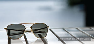 Randolph Aviator Sunglasses AF150 & AF164 <span>- 23K Gold, Evergreen Lenses</span>