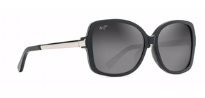 Maui Jim Melika 760 Sunglasses<span>- Black Gloss with Silver Temples, Grey Lens</span>