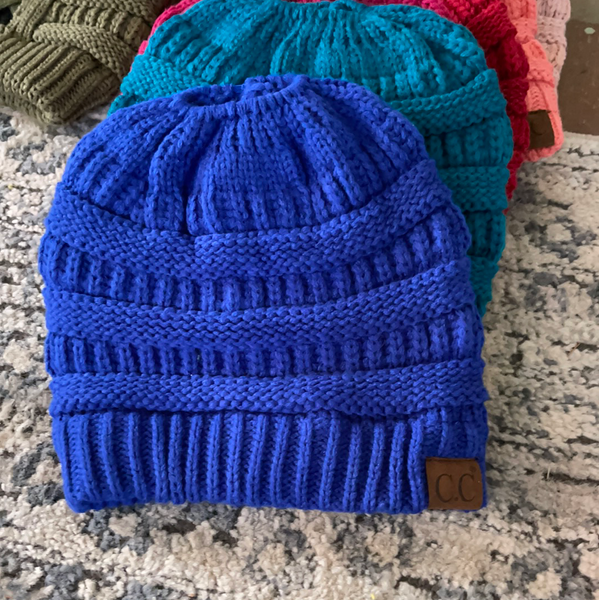 Adult beanies with top pony tail hole