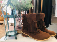 Brown Fringed Suede Boots