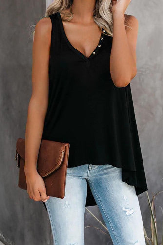 Black V Neck Sleeveless High Low Tank Top