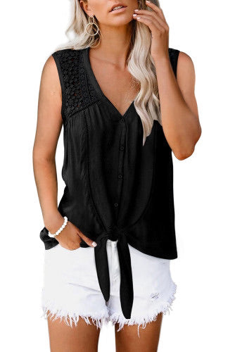 Black Lace Tie Front Button Tank Top