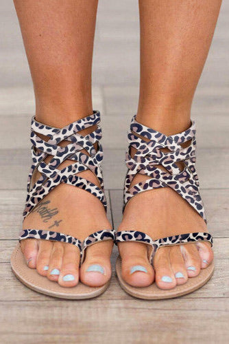 Leopard Cross-Tied Zipper Flat Sandals