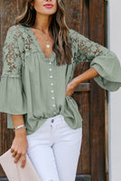 Green Crochet Lace Button Top
