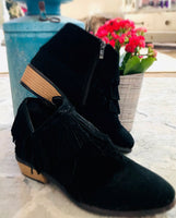 Black Low Heel Fringed Ankle Boots