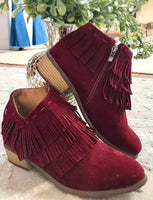 Wine Low Heel Fringed Ankle Boots