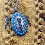 Turquoise Concho with Arrow Set