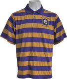 Omega Psi Phi Rugby Style Striped Polo Mens Tee [Short Sleeve]