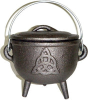 Charmed Symbol Cast Iron Cauldron with Lid Top
