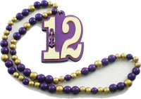 Omega Psi Phi Line #12 Mirror Wood Color Bead Tiki Necklace