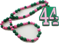 Alpha Kappa Alpha Line #44 Mirror Wood Color Bead Tiki Necklace