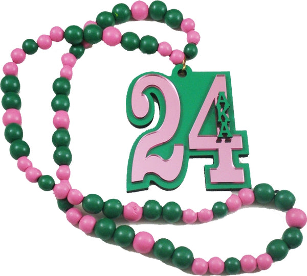 Alpha Kappa Alpha Line #24 Mirror Wood Color Bead Tiki Necklace