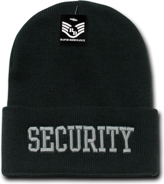 Security Text Public Safety Mens Long Cuff Beanie Cap
