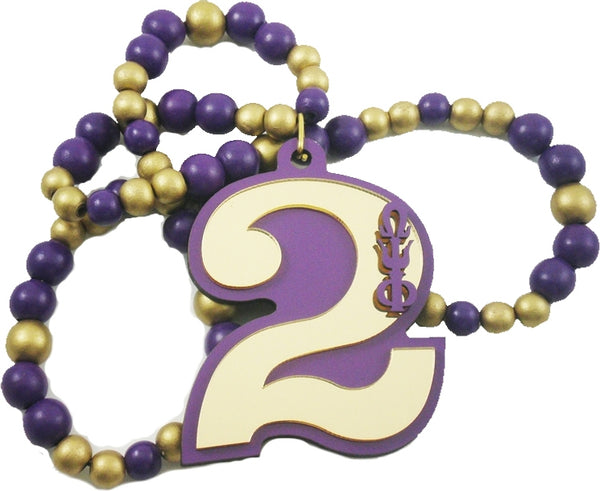 Omega Psi Phi Line #2 Mirror Wood Color Bead Tiki Necklace