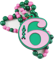 Alpha Kappa Alpha Line #6 Mirror Wood Color Bead Tiki Necklace