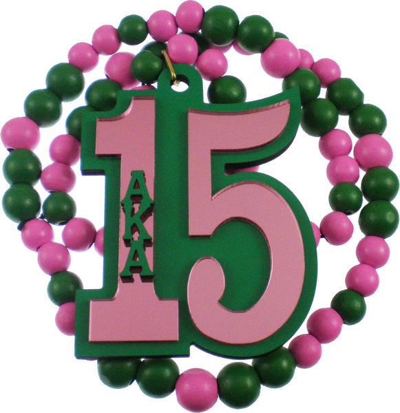 Alpha Kappa Alpha Line #15 Mirror Wood Color Bead Tiki Necklace