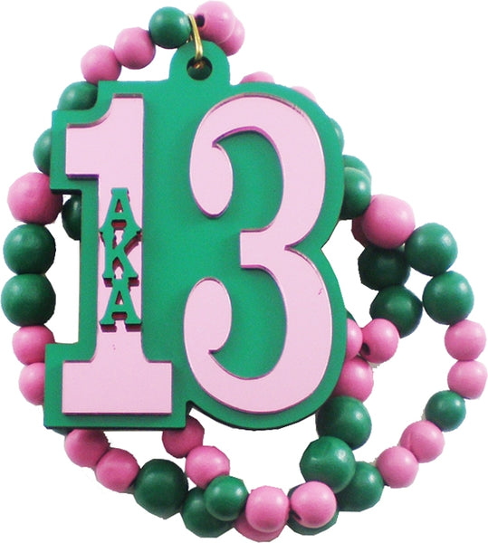 Alpha Kappa Alpha Line #13 Mirror Wood Color Bead Tiki Necklace