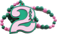Alpha Kappa Alpha Line #2 Mirror Wood Color Bead Tiki Necklace