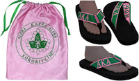 Alpha Kappa Alpha Flip Flops In Draw String Shoe Bag